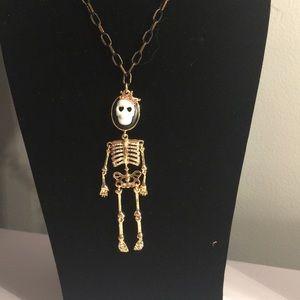 Betsey Johnson Skull Necklace Multi Color Stones